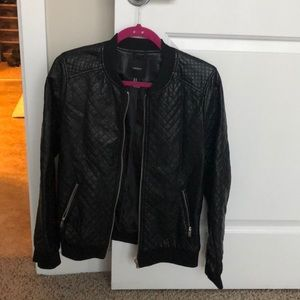 Black quilted faux leather bomber jacket
